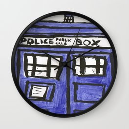 Tardis Police Public Call Box Painting Wall Clock