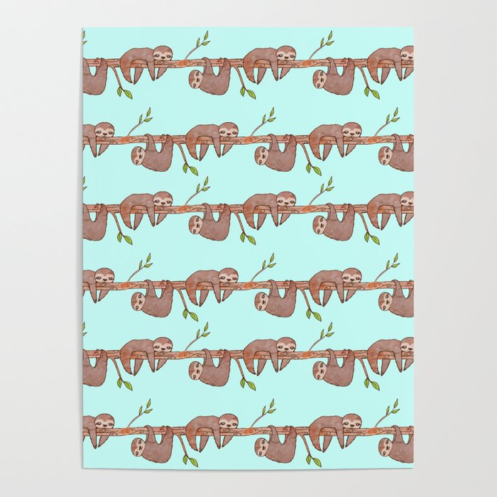 Lazy Baby Sloth Pattern Poster