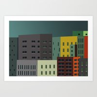 buildings Art Prints featuring Buildings by The Red Umbrella Shop