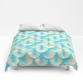 Teal Green Mermaid Pattern, Holographic Fish Scale Print Comforters