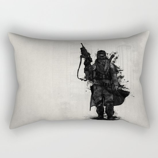 Post Apocalyptic Warrior Rectangular Pillow