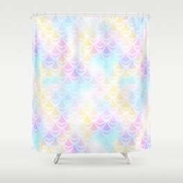 Pale Pink Mermaid Tail Abstraction. Pastel Magic Fish Scale Pattern Shower Curtain