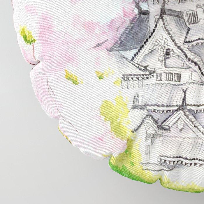 Himeji Castle , Art Watercolor Painting print by Suisai Genki , cherry blossom , Japanese Castle Floor Pillow