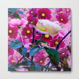 YELLOW ROSE GARDEN BEAUTY & PINK COSMOS Metal Print