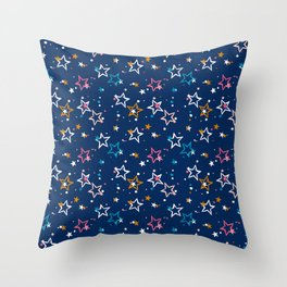 Night sky with colorful stars and dots on blue background Throw Pillow