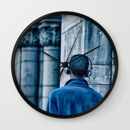 Man headset blue Wall Clock
