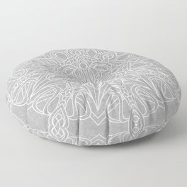 White Mandala on Grey Linen Floor Pillow
