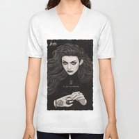lorde V-neck T-shirts featuring The Fire's Found A Home In Me by Helen Green