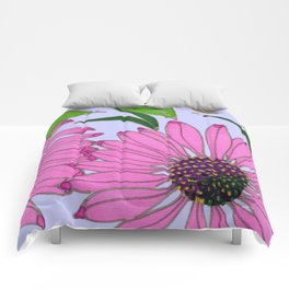 Echinacea on Lavender Comforters