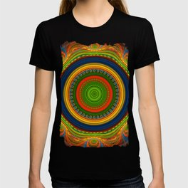 Groovy colourful fractal mandala with lace-like patterns T-shirt