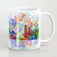 new york skyline Mugs featuring New York skyline by Bekim ART
