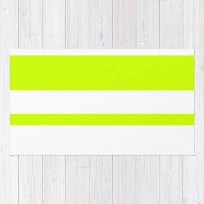 Mixed Horizontal Stripes - White and Fluorescent Yellow Rug