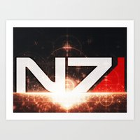n7 Art Prints featuring Mass Effect N7 by Anthony.Ch