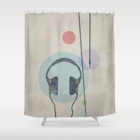 headphones Shower Curtains featuring headphones by avoid peril