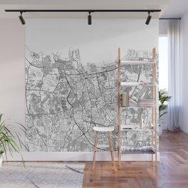 Jakarta White Map Wall Mural