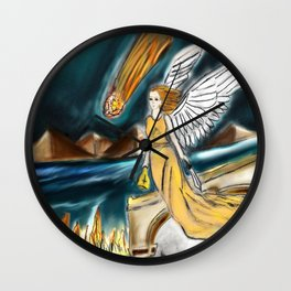 Karmic Angel of Fire Wall Clock