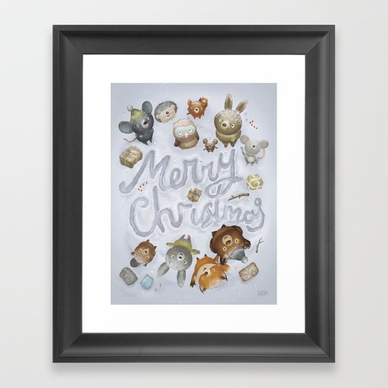 Merry Christmas Animals Framed Art Print