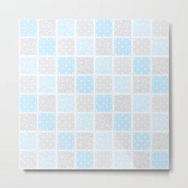 Smaller Baby blue & grey Swirls & spots Patchwork Metal Print