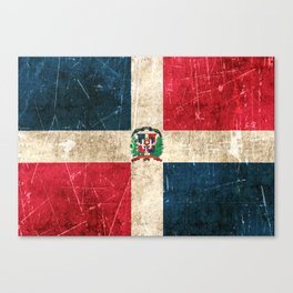 Vintage Aged and Scratched Dominican Flag Canvas Print
