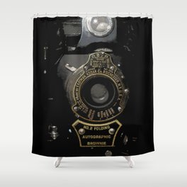 VINTAGE AUTOGRAPHIC BROWNIE FOLDING CAMERA Shower Curtain
