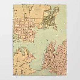 Vintage Norfolk and Portsmouth VA Harbor (1861) Poster