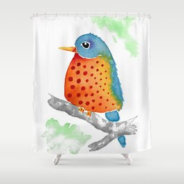 Polka Dot Bluebird Shower Curtain