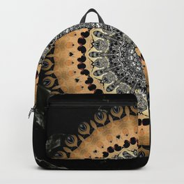 Black Marble with Gold Brushed Mandala Backpack