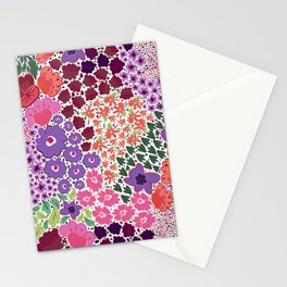471-Vibrant color hand drawn cute ditsy floral pattern Stationery Cards