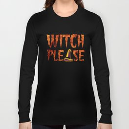 Funny Halloween Shirts for Women Witch Please Face Gift Tshirt Long Sleeve T-shirt