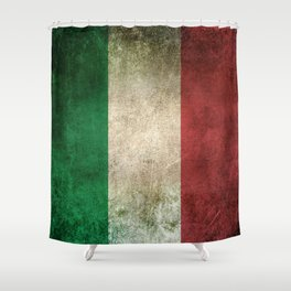 Old and Worn Distressed Vintage Flag of Italy Shower Curtain