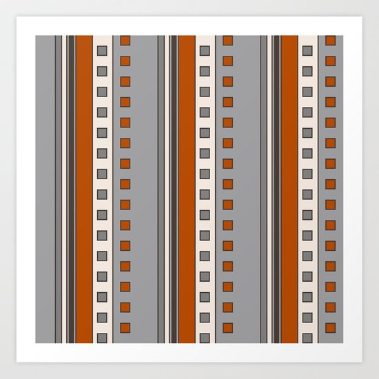 Stripes and Squares in Terracotta and Gray by fischerfinearts