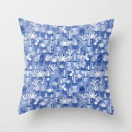 Succulents - Monochrome Blue Throw Pillow