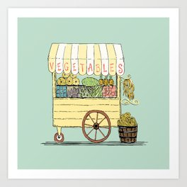 Veggie Cart on Mint Art Print