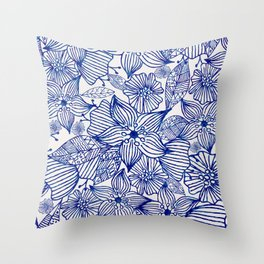 Hand painted royal blue white watercolor floral illustration Throw Pillow