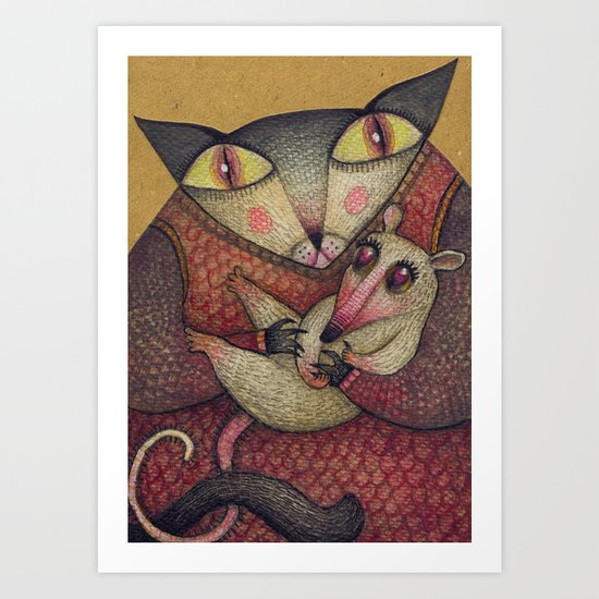 Little orphaned rat adopted by Mother Cat Art Print