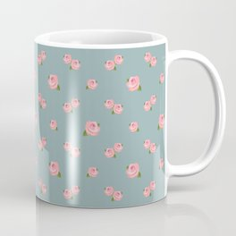 Pink Roses Repeat Pattern on Teal Coffee Mug