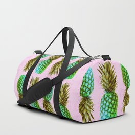 Green pineapples on pink background Duffle Bag