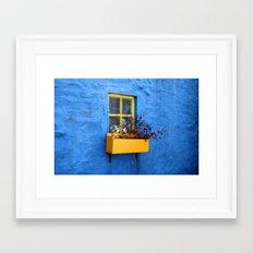 FLOWER - BOX - YELLOW - BLUE - WALL - PHOTOGRAPHY Framed Art Print