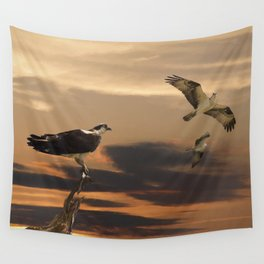 Osprey at Sunset Wall Tapestry