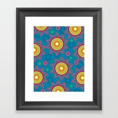 Moroccan Flower Blue Framed Art Print