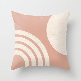 Mid Century Modern Dust Pink Sun & Rainbow Throw Pillow