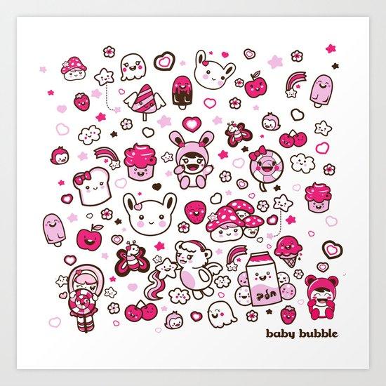 Kawaii Friends Art Print