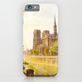 L'lle de la Cite and the Cathedral of Notre Dame, Paris from Quai Montebello by Firmin-Girard iPhone Case