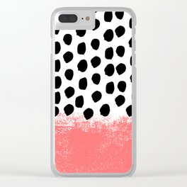 Lola - painted dot minimal coral black and white trendy abstract home decor Clear iPhone Case