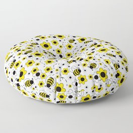Honey Bumble Bee Yellow Floral Pattern Floor Pillow