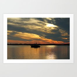 Sunset Over The Water Art Print