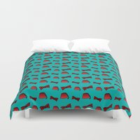 fez Duvet Covers featuring Red Fez & Bow Tie (on teal green) by Kristi Duggins