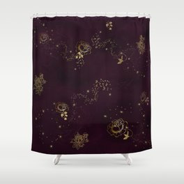 Gold Sparkling Roses Shower Curtain