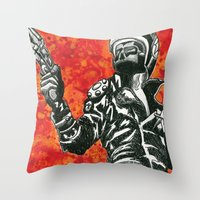 mad max Throw Pillows featuring Mad Max  by Abominable Ink by Fazooli