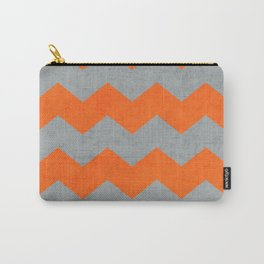 chevron- gray and orange Carry-All Pouch
